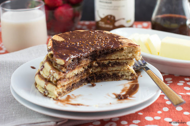Pancakes with a layer of IKEA CHOKLADKROKANT BREDBAR filling in the middle. It's the tastiest IKEA hack out there!