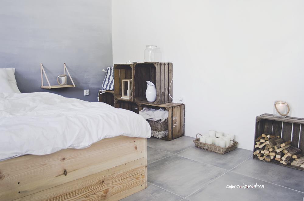 skrzynie po owocach, ombre wall ,wood bed diy