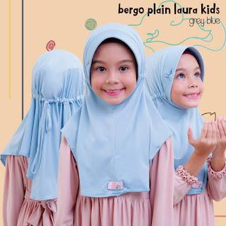 Jilbab Bergo Anak Miulan Kids grey blue / biru muda