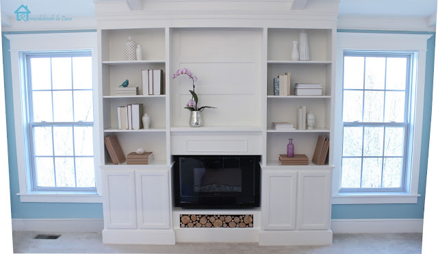 how to build a set of bookcases with fireplace in-between.