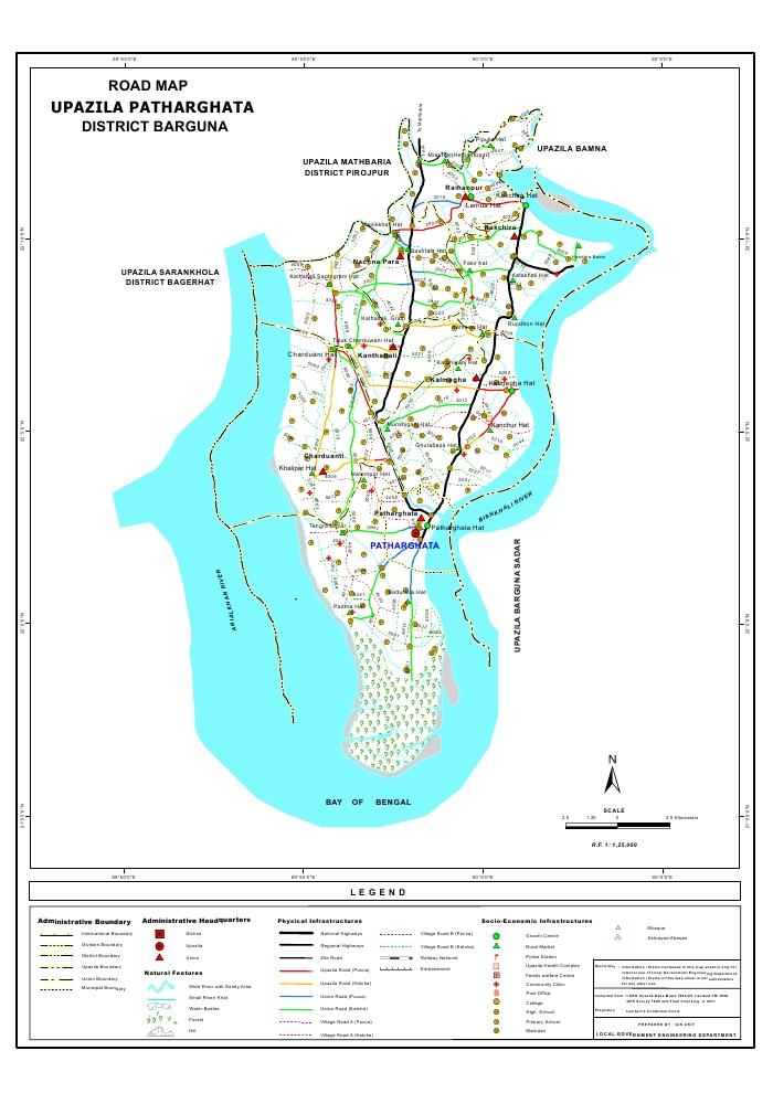 Patharghata Upazila Road Map Barguna District Bangladesh
