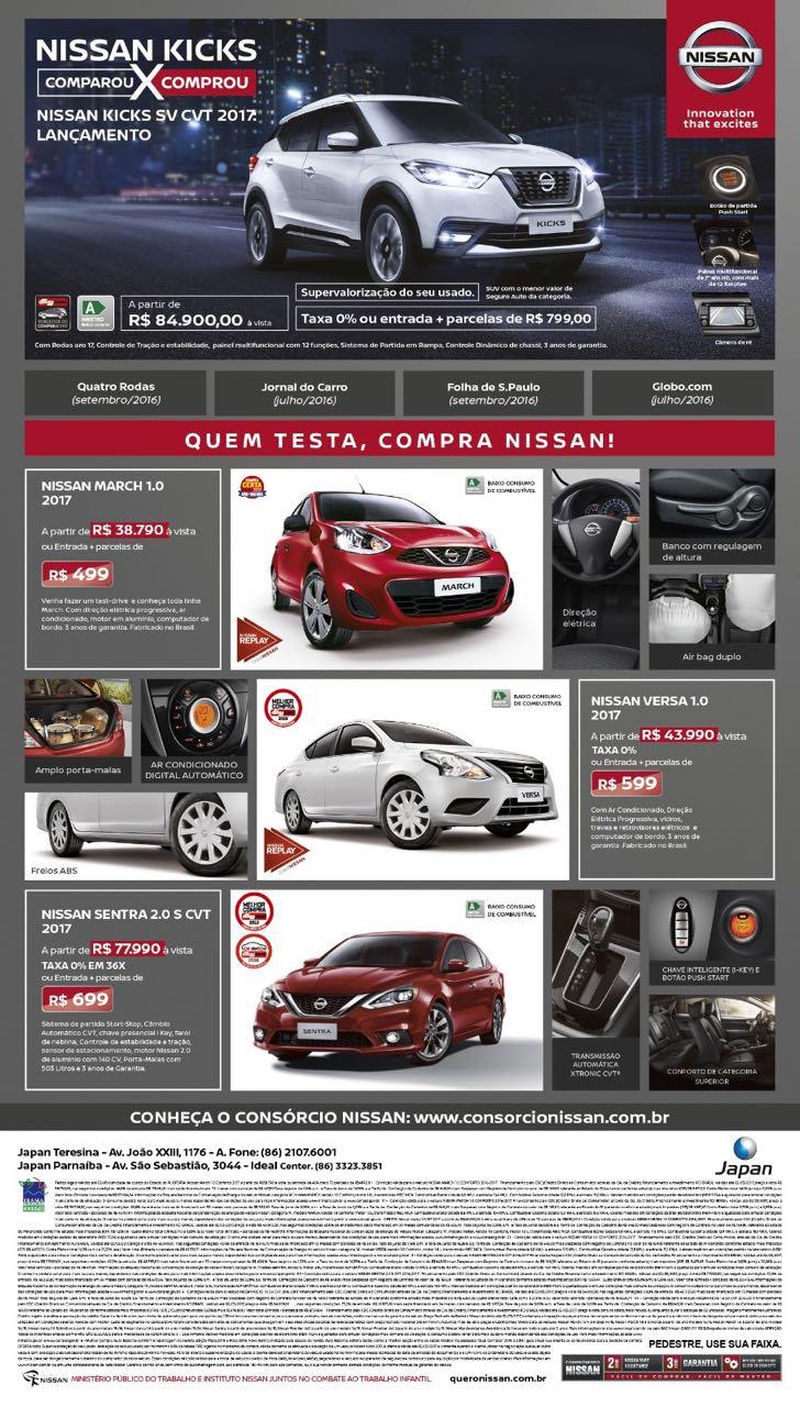 Conheça as ofertas da linha 2017 da Nissan para o mês de fevereiro