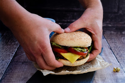 Vegan Smoky Red Pepper & Cheese Bean Burger