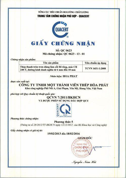 Giấy chứng nhận chất lượng thép cuộn tròn trơn mác thép CB240-T