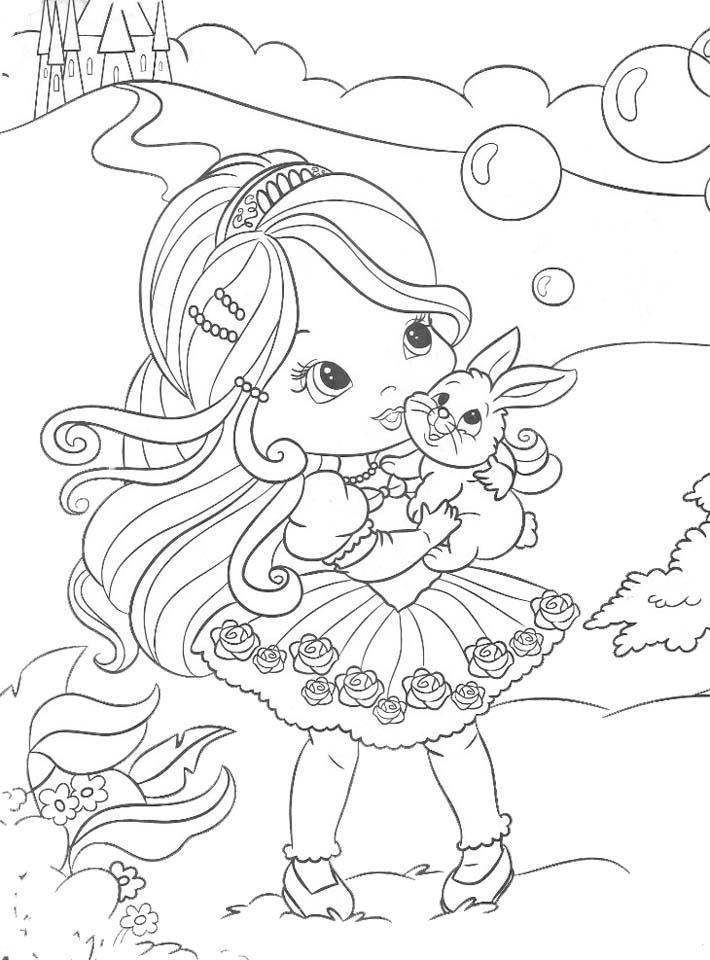 Dibujo para colorear de princesita con conejo