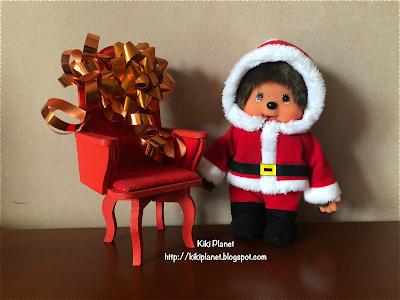 kiki monchhichi fauteuil père noel santa claus armchair christmas handmade fait main miniature meubles poupée