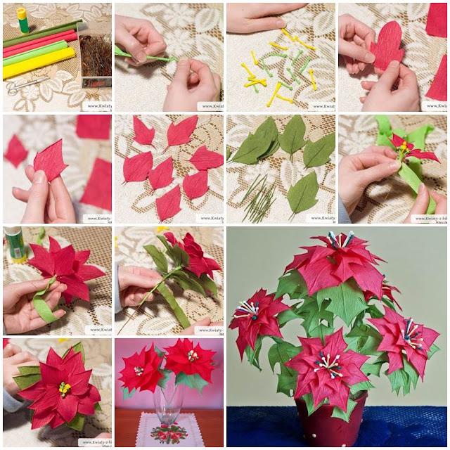 Manualidad flores Poinsettia