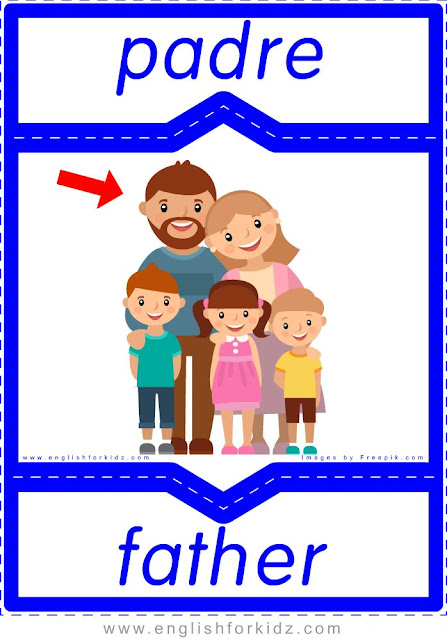 Father English-Spanish flashcards for the family members topic