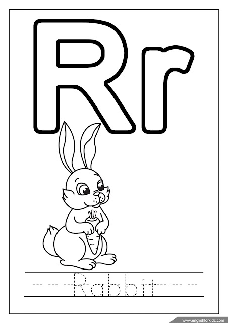 Letter r coloring, rabbit coloring, alphabet coloring page