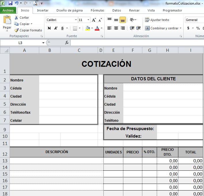 Formato de cotización para descargar - Construya Fácil - formatos de excel gratis