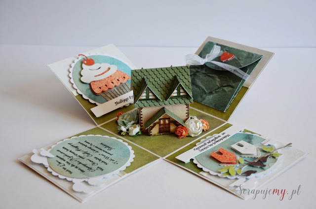 prezent na nowe mieszkanie, box z domkiem, prezent na mieszkanie dla podróżników, exploding box, exploding box z mapą,