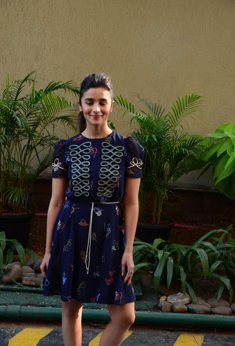 Alia Bhatt At Movie Promotions In Blue Mini Skirt