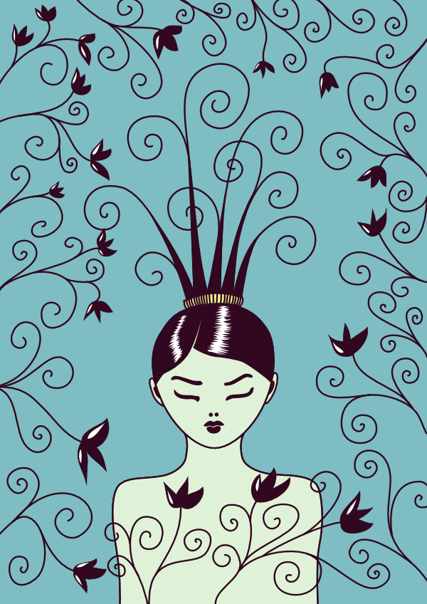 "Girl with strange haircut and flowers for this week's Illustration Friday topic ""swirls"""