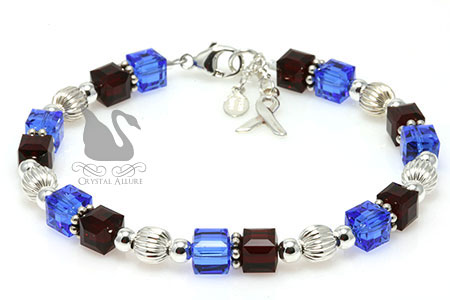 Crystal Cube Pulmonary Fibrosis Awareness Bracelet (B125-D2)