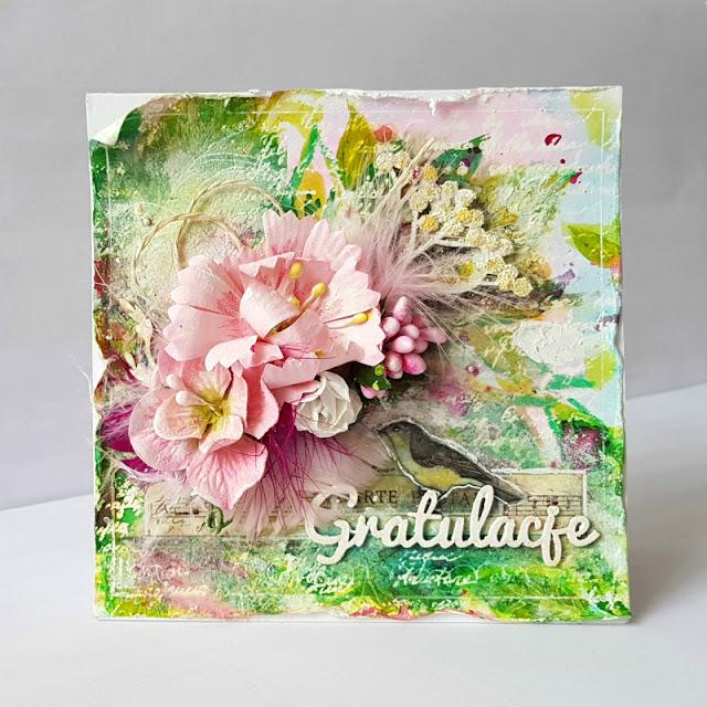 kartka, kwiaty, ptak, wiosna