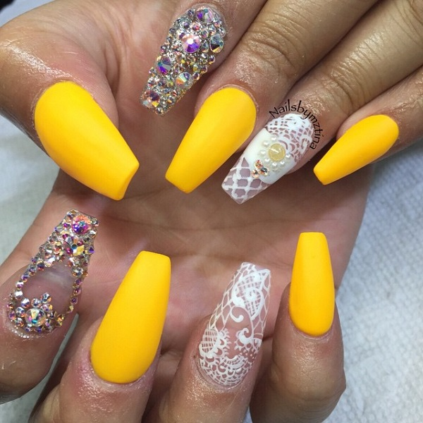 Looking For Something Good Your Long Nails This Amazing Yellow Inspired Nail Art Design Might Just Be The Choice You