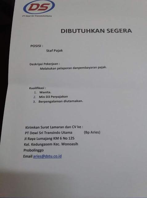 PT. DEWI SRI TRANSINDO UTAMA Membuka Lowongan Kerja Yaitu Staf Pajak dengan jobdesk, melakukan pelaporan dan pembayan pajak.  www.kraksaan-online.com