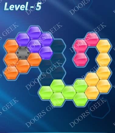 Block! Hexa Puzzle [6 Mania] Level 5 Solution, Cheats, Walkthrough for android, iphone, ipad, ipod