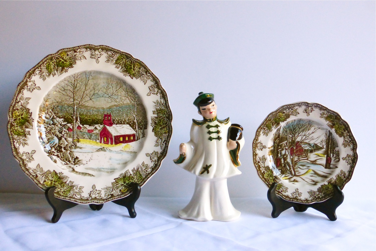 Vintage Finds, Johnson Brothers, Johnson Brothers plates, transfer ware, Johnson Brothers transfer ware, Johnson Bros The Friendly Village, Johnson Bros Sugar Maples, Johnson Brothers decorative china, vintage decorative china, vintage transfer ware, vintage Johnson Brothers china, Johnson Bros The Schoolhouse, vintage English transfer ware, vintage English Johnson Bros, vintage English Johnson Brothers transfer ware, vintage winter scenery china, vintage decorative transfer ware china, chinoiserie figurine, chinoiserie boy figurine, chinoiserie style, chinoiserie kitsch, oriental boy figurine, asian boy figurine