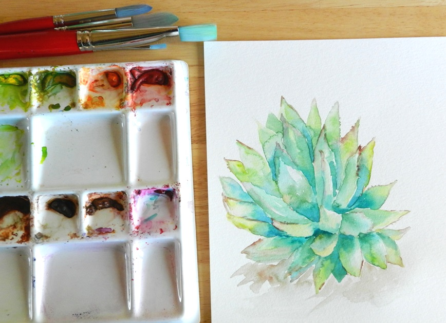 Original Watercolor Cactus Painting by Elise Engh