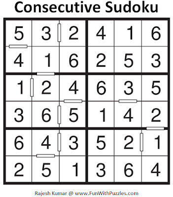 6x6 Consecutive Sudoku (Mini Sudoku Series #61) Answer