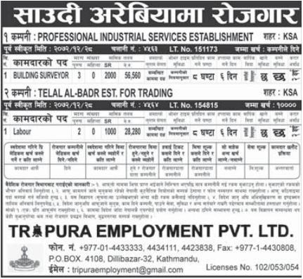 Jobs For Nepali In Saudi Arabia, Salary -Rs.56,560/