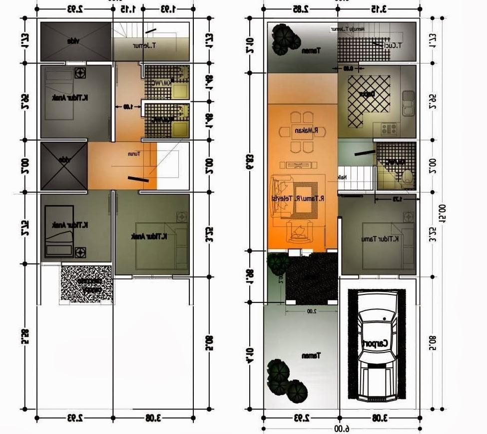 denah rumah ukuran 6x10 minimalis satulantai 1