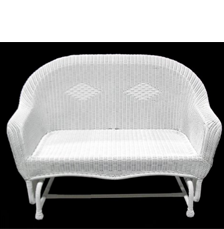 NorthLight 51 in. White Resin Wicker Double Glider Patio Chair