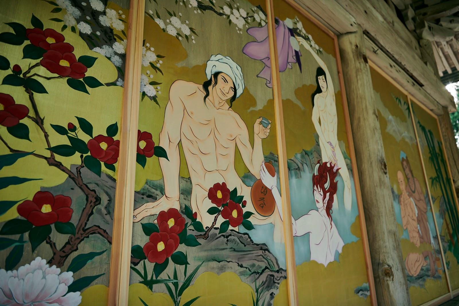 噴鼻血性感偉人,國上寺本堂牆壁覆蓋帥哥官能繪卷 - 好玩吧