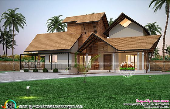 Traditional laterite Kerala home wit nadumuttam