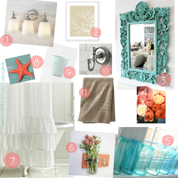 Coral Bathroom Ideas: Turquoise And Coral Bath Design On Pinterest