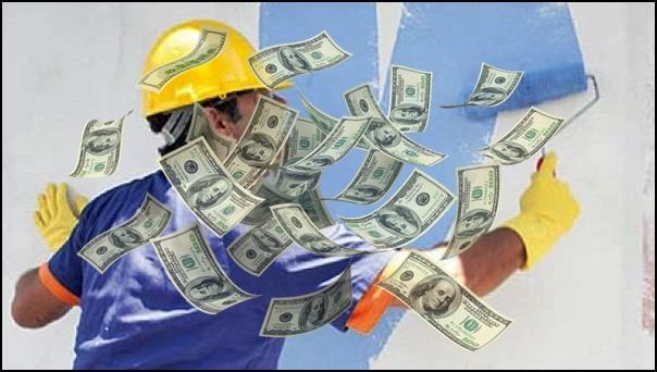 pintor com dinheiro