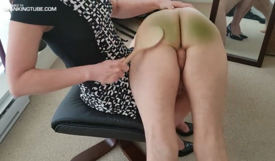 Wife spanks him welts