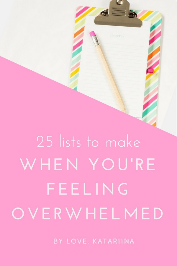 lists to make when feeling overwhelmed