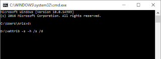 command prompt attrib -s -h /s /d