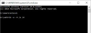 command prompt attrib -s -h /s /d