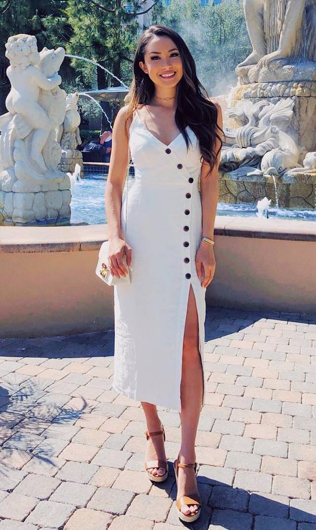 what to wear today / white midi dress + bag + platform sandals