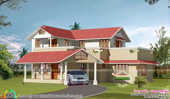 Semi traditional 2172 square feet Kerala home design