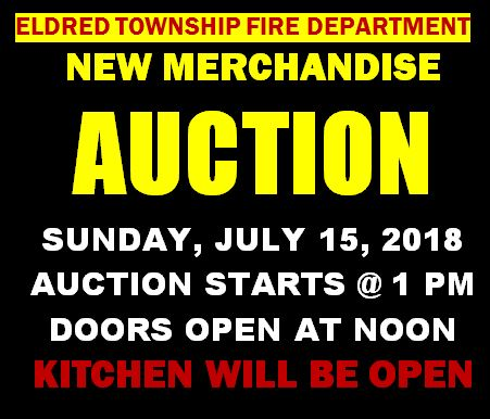 7-15 New Mdse Auction, Eldred Twp. VFD