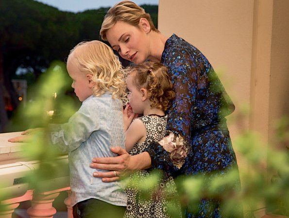 Princess Charlene wore PREEN BY THORNTON BREGAZZI Aurora Devoré Dress