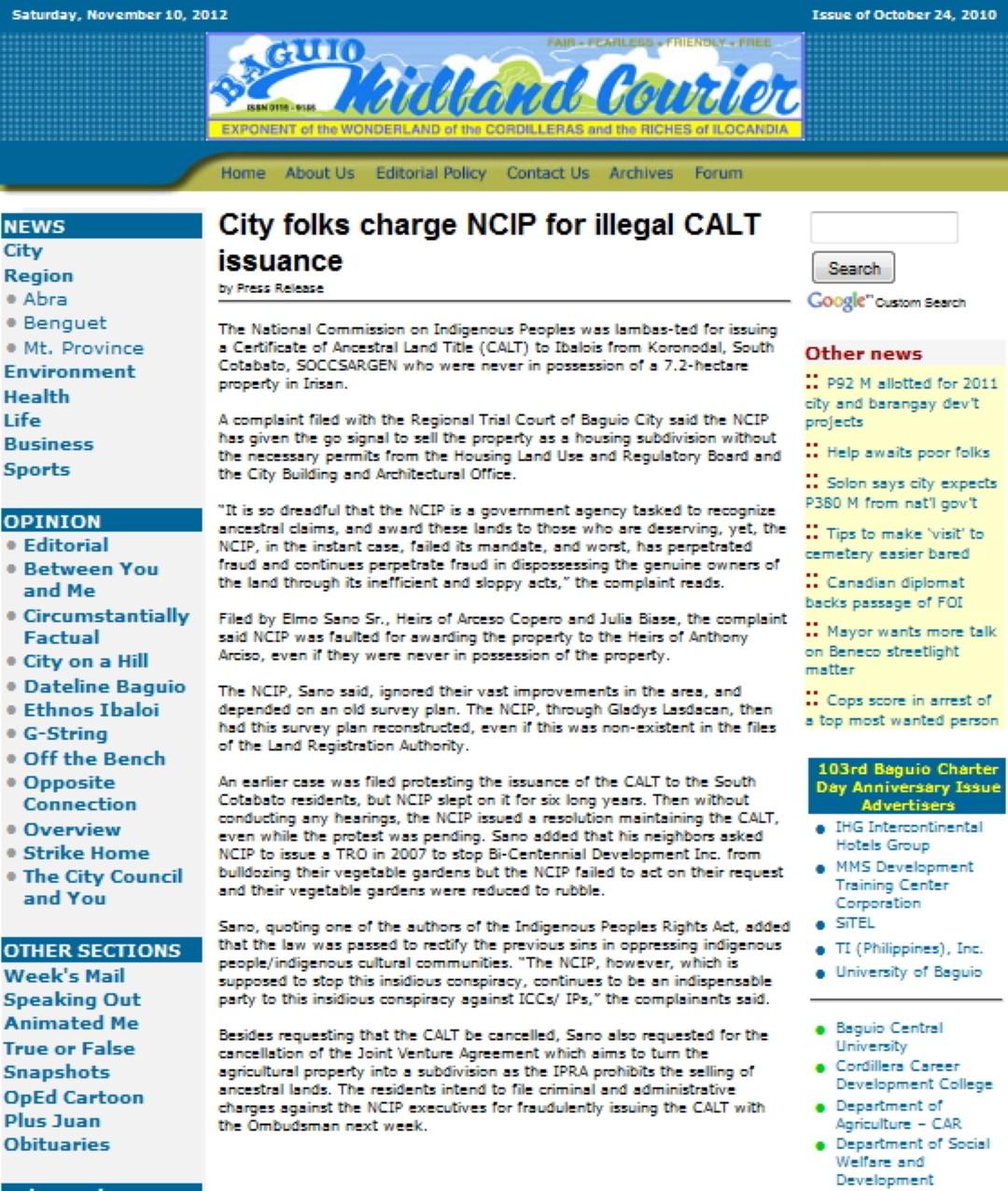 Mountain House Baguio Subd Updates Reviews: City folks