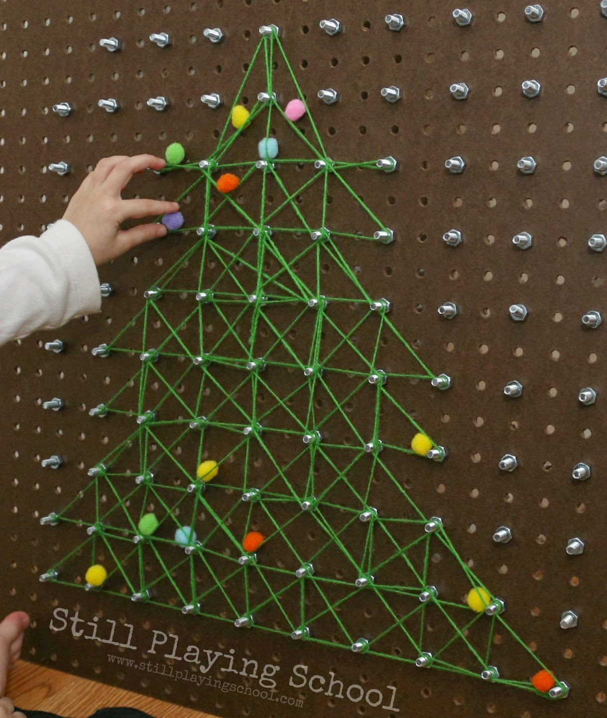 Christmas Tree Geoboard Hands On Math Activity For Kids