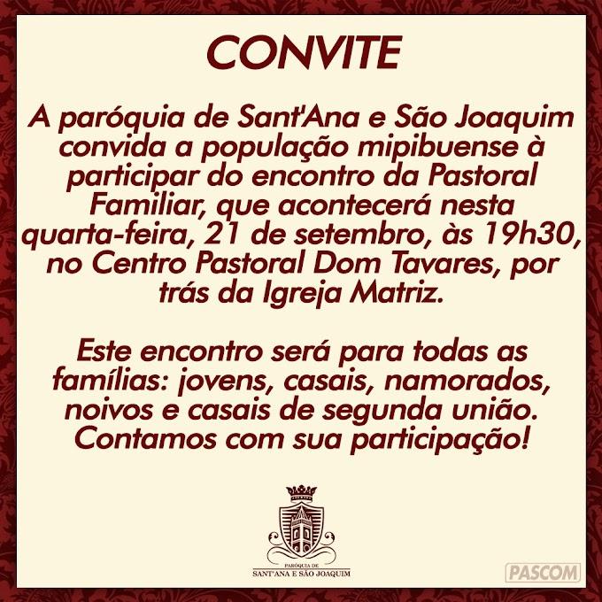 CONVITE: ENCONTRO DA PASTORAL FAMILIAR