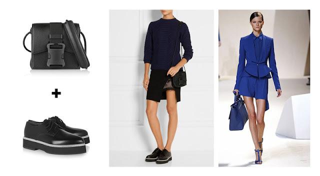 Черная сумка и туфли, синий монохромный наряд