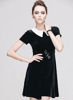 Robe noire col claudine blanc pas cher