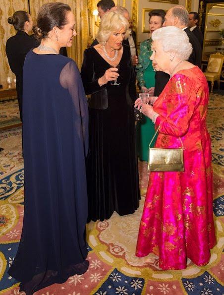 Prince Karim Aga Khan, Princess Zahra Aga Khan, Princess Salwa Aga Khan, Duchess Camilla, Prince Charles, Princess Anne and Prince Andrew