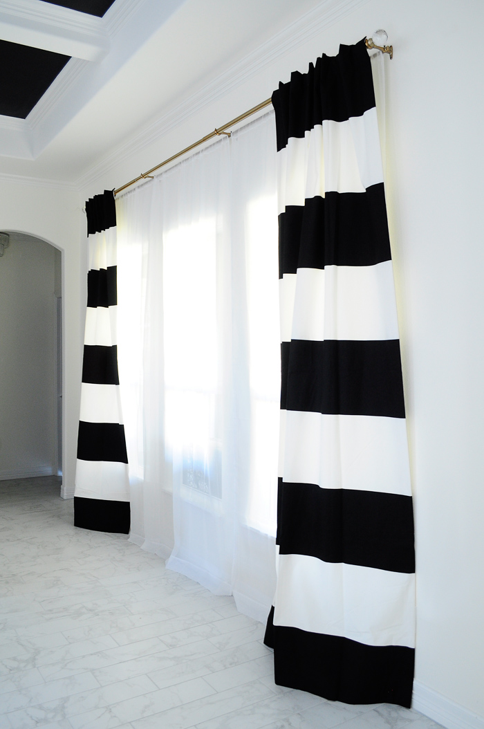 A review of these gorgeous black and white striped drapes that were under $50 a panel! | via monicawantsit.com