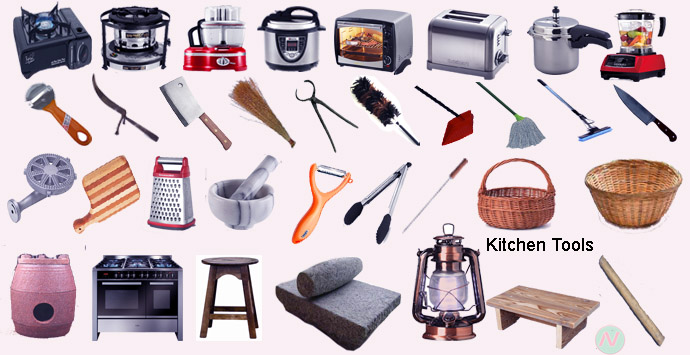 Kitchen tools name with relevant necessary vocabulary note for Kitchen set name in english