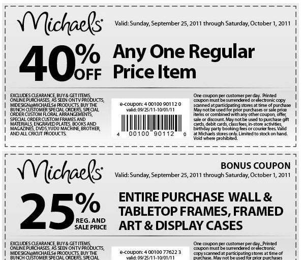 image regarding Blockbuster Printable Coupon titled The Thrifty Deafies: Michaels Printable Discount coupons