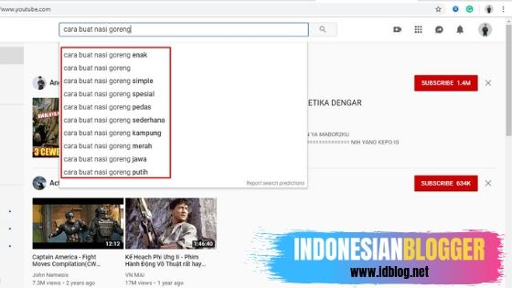 cari keyword youtube